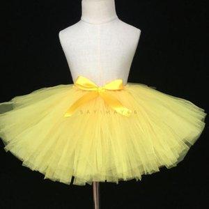 Ballet 1-9Y meninas Amarelo Tulle saia tutu Crianças Pettiskirt Tutus underskirts com fita Crianças Partido Bow Costume Saias 20Pcs