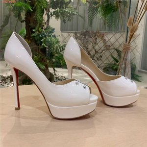 Womens classic patent leather high-heeled shoes, thin high-heeled black white patent leather high-heeled sandals Size 34-41