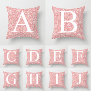 Letter Pillow Covers English Alphabet Printed Throw Pillow Luxury Sofa Cushion Cover Decorative Pillowcase Sofa Home Decor 45*45cm YFA2069