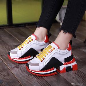 Estação Europeia absorção de choque Moda Couro Contraste Casual colorida Esportes Sapatos grossas de fundo Old Shoes Mulheres Tide Marca Plataforma Sapatos