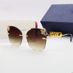 Fashion Women Bee Sunglasses Rimless Big Frame Women Driving Sunglass Buffalo Horn Ocean Lentes Ladies Eyewear Butterfly Sun Glasses