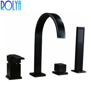 Rolya 스퀘어 스타일 매트 블랙 4 구멍 목욕 샤워 믹서 탭 데크 장착 크롬 욕조 수도꼭지 욕조 필러