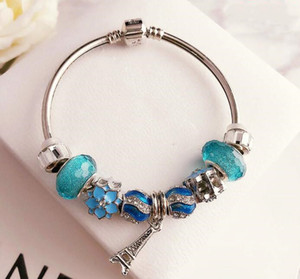 summer jewelry woman 2020 diy charm bangle bracelet eiffel tower jewelry glass bead bracelet sea life jewelry