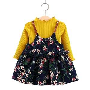 6M-24M için Bear Lider Bebek Elbise 2020 Yeni Bahar Kız bebekler Giyim Kulaklar Baskı Prenses Yenidoğan Elbise Takım Elbise