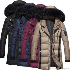 Fur Designer Mäntel Warme Windjacke Hooed Lange Fest Daunenjacken Winter-Männer Thick