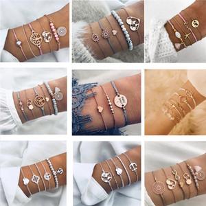 Fashion Beads Stone Turtle Bracelet Set for Women Geometric Tree of Life Shell Braclets Bohemia Summer Jewelry