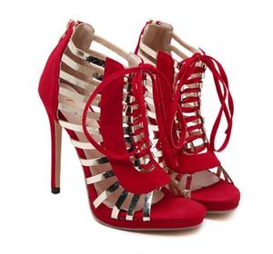 Горячая распродажа-новый красный черный золотой ремешок лоскутное зашнуровать сандалии на высоком каблуке свадебные туфли размер 35 до 40