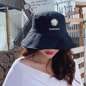 Harajuku Lady Fisherman Hat Woman Spring Summer Sunshade Hat Man Candy Color Flat Top Bucket Hats Outdoor Cotton Sunscreen Cap