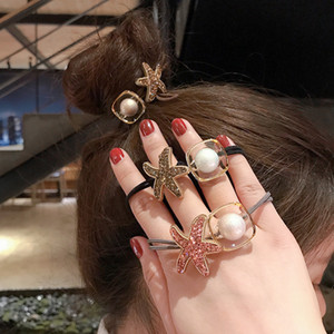 Hair Rubber Bands sweet geometric diamond starfish hair rope head rope bracelet female 2020 new style head tie rubber band high quality gift