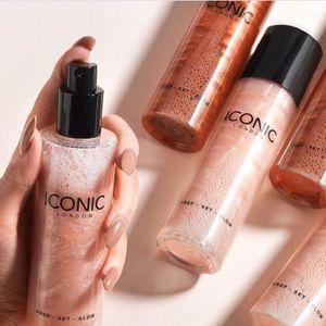 ICONIC London Prep Maquillaje Brillo Resalte Spray Primer color resplandor original 120 ml Base Brillo Maquillaje Líquido Esencia Spray