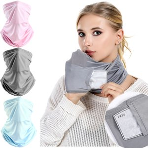 DHL shipping Unisex Magic Scarf Bandanas Ice Silk Mask with PM 2.5 filter Outdoor Windproof Dust Veil Sunshade Neck Protective Mask L185FA