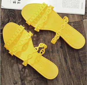 여성 여름 플랫 슬리퍼 패션 브랜드 클래식 섹시 비치 소프트 미끄럼 방지 여행 젤리 체인 캐주얼 OL 산책 슬리퍼 가져 가라