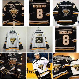 2009-Pres CHL QMJHL Cape Breton Screaming Eagles 8 Nicholson 29 Marc-Andre Fleury Home 4 David Victor Personalizza maglie Bianco Nero