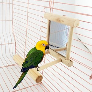 Wooden Bird Toy Mirror Parrots Small Birds Parrot Toys Pet Climb Cage Swing Toy Accessories