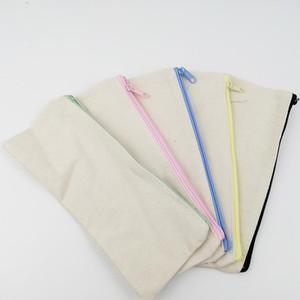 21x9 سنتيمتر diy الأبيض قماش فارغة سحاب عادي أكياس قلم رصاص أكياس القرطاسية الحالات مخلب المنظم حقيبة هدية تخزين الحقيبة