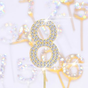 Tempestato di diamanti Numero cake topper con strass di cristallo torta di compleanno di cerimonia nuziale Decora Cupcake Toppers partito dei capretti Dessert Ornamenti Y200618