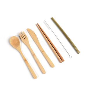 6шт / комплект Bamboo Travel Cutlery Set Питание Bamboo вилка нож ложка палочки солома очистка кисть Flatware UTENSIL с тканью мешок FFA3184-2