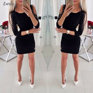 Newest Dress Sexy Fashion Women Off Shoulder With Lace Long Sleeve Bodycon Party Evening Mini Pencil Dress Clubwear