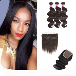 A Body Wave Hair Wefts Straight Virgin Hair Weaves Bundles With Closure or Ear to Ear Frontal Closure Unprocessed Natural Color Human H