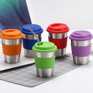 12oz 304 Paslanmaz Çelik Kahve Kupalar Kapak DBC BH3737 ile Silikon Kapak Termos Bardaklar Tumblers Yalıtımlı Vakum Kahve Kupaları Karşıtı fokur