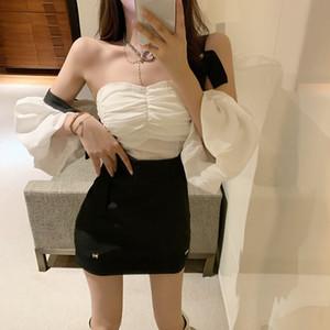 Нана мода Женская одежда Store Дизайн Sense -Плеча верхней части пробки рубашки Suspender юбка Тонкий костюм юбка Двухсекционный Темперамент