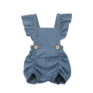 Ins Fashion Baby Girls Ruffles Denim Rompers Summer Fly Sleeve Backless Cute Infant Baby Clothing