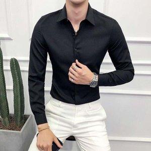 High Quality Men Shirt Long Sleeve Solid Formal Business Shirt Slim Fit Brand Man Dress Shirts Social Turn-down Collar 6Colors