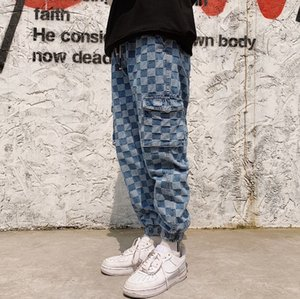 하라주쿠 격자 무늬 바지 청바지 여성 남성 느슨한 남여 바지 착실히 보내다 패션 높은 허리는 카고 바지 블루 스트리트을 포켓