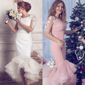 Elegant 2020 Ilusion Long Sleeves High Low Mermaid Evening Dresses Tea Length Lace Appliqued White Pink Prom Gowns