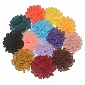 Venda quente 40pcs / lot 7cm tecido chiffon de flores Flores para Headband DIY Acessórios de cabelo LSFB074