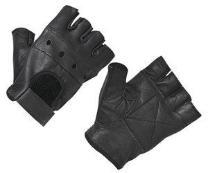 2019 NEW HOT Fashion Herren Lederhandschuhe Half Finger Fingerless Stage Sports Fahren Solid Black Handschuhe