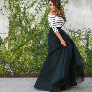 US-Frauen Fashion Summer Long Zwei Stücke Tüll Striped Maxi Abend-Abschlussball-Kleid mit Perlen verziert Partei-Cocktailparty-Kleid-Rock-Set