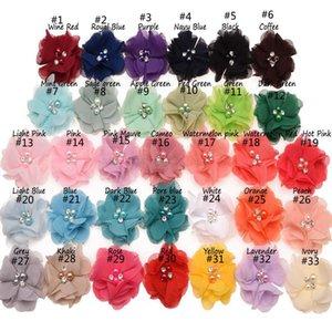 33colors шифон цветы с Pearl Rhinestone центр искусственного цветка Ткань Цветы Дети Аксессуары для волос Детские ободки Цветок