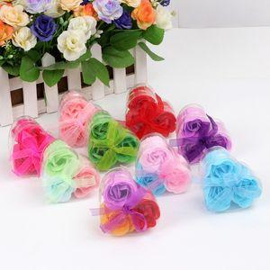 Forma del corazón de Rose Soap Box lleno PVC regalos Jabón Flor de papel hecho a mano de flores fiesta de cumpleaños Día de San Valentín Rose