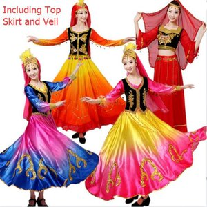 Chinese Folk Dance Costume Antico Tradizionale minoranza nazionale Xin Jiang ballo della fase Dress Xinjiang vestiti per le donne