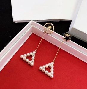 joyería de la mujer 2019 del triángulo geométrico aretes de perla S925 aguja de plata esterlina Corea del estilo sencillo versátil pendientes borla