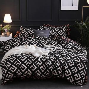 Yuxiu Einfache geometrische Bettwäsche-Set Bettwäsche Bettwäsche-Sets Leopard 3pcs Kingsize-Bett-Bettwäsche Baumwolle Bettwäsche Textil-Königin nach Hause T200409