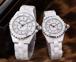 2020 فاخر سيدة / رجالية أبيض / أسود الماس السيراميك الساعات ذات جودة عالية الكوارتز ساعات المعصم للنساء ساعات 4color 39-34cm