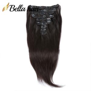 Bella Hair® Clip in Hair Extensions 100٪ شعرة الإنسان ينسج لحمة اللون الأسود الطبيعي مستقيم 12-30 بوصة 160 جرام / مجموعة مجانية