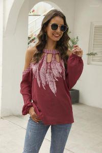 Moda Kadın Tüy Bluzlar Kontrast Renk Tasarımcı Bayan Giyim Uzun Kollu Halter Hollow Out Bayan Gömlek yazdır