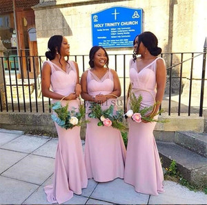 Pink Mermaid Bridesmaid Dresses V Neck Sweep Train Pleats Garden Country South African Wedding Guest Gowns Maid of Honor Dress Plus Size