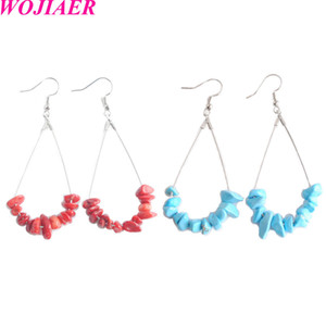 WOJIAER Fantastic Jewelry Water Drop Earrings Natural Chip Stone Silver-color Beauty Simple Healing Dangle Earrings DBW906