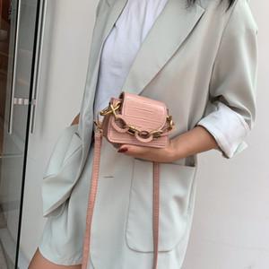 Stone Pattern PU Leather Crossbody Bags For Women Thick Chain Design Shoulder Messenger Bag Lady Mini Tote Lipstick Handbags MX200324