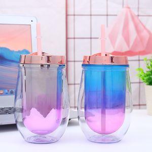 12oz 350ml de plástico vinho óculos coloridos Stemless vidro de vinho com palhas de camada dupla L Egg Shell Cup Swig bonito copo plástico