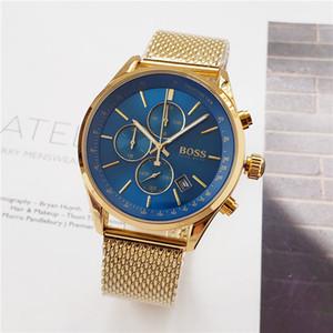 Luxo ROYAL CARVALHO chefe relógio de quartzo moda casual dos homens assistir todas as funções podem trabalhar cinto de malha frete grátis