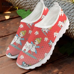 FORUDESIGNS Red and White Gradient Cartoon Tooth Teeth Fairy Dental Pattern Women Slip On Sneakers Design Shoe Causal Shoe