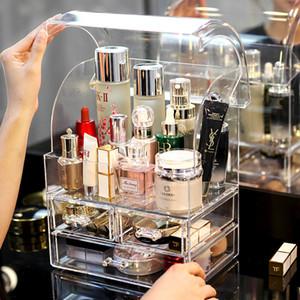 Trasparente trucco acrilico dell'organizzatore del supporto Storage Box Rossetto bagagli Make Up portautensili Cassetti Jewerly bagagli scatola CJ191128