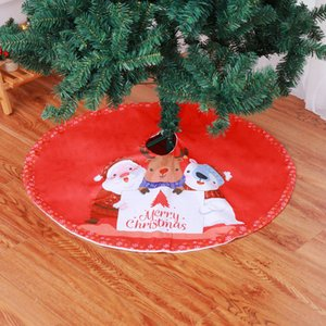 1PC New Lovely Red Christmas Tree Skirt Tree Cover Decor Embroidery Snowman ELK Bear Christmas Dress Decoration