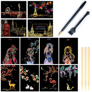 Scratch Art Paper, Rainbow Night View Scratchboard Pads for Adults and Kids, Mini Envelope Postcard Art & Crafts Set,12 Cards (City Living)