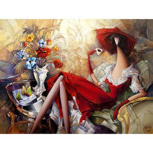 Modern paintings Red dress - 2 canvas women dancer abstract artwork for office wall decor hand painted